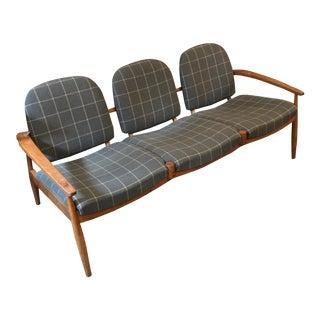 Mid Century Grey Grid Sofa