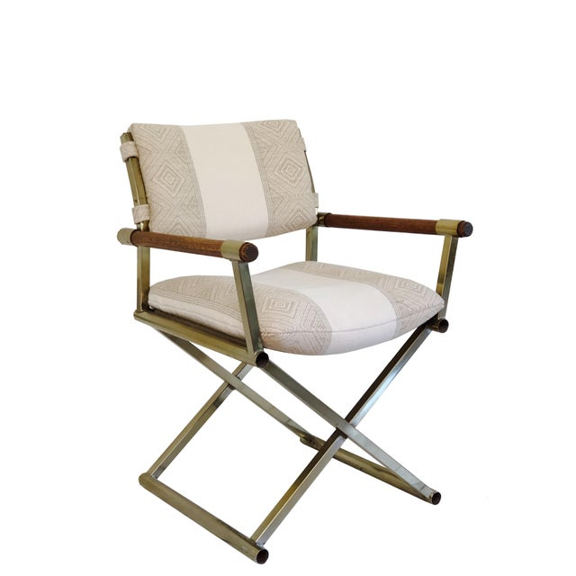 1970s Mid Century Brass Milo Baughman Style Campaign Director's Chair For Sale - Image 11 of 11
