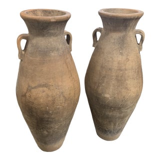 Large Terracotta Urn Pots - a Pair For Sale