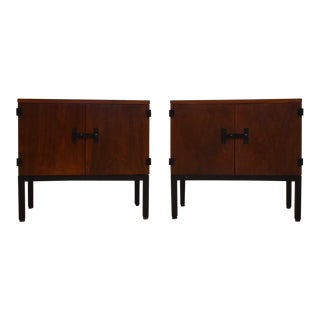 Milo Baughman for Directional Walnut Nightstands- a Pair For Sale
