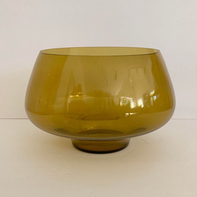 Green Mid Century Amber Glass Centerpiece Large Salad Bowl For Sale - Image 8 of 8