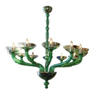 Mazzega Murano - Green Chandelier by Mazzega For Sale