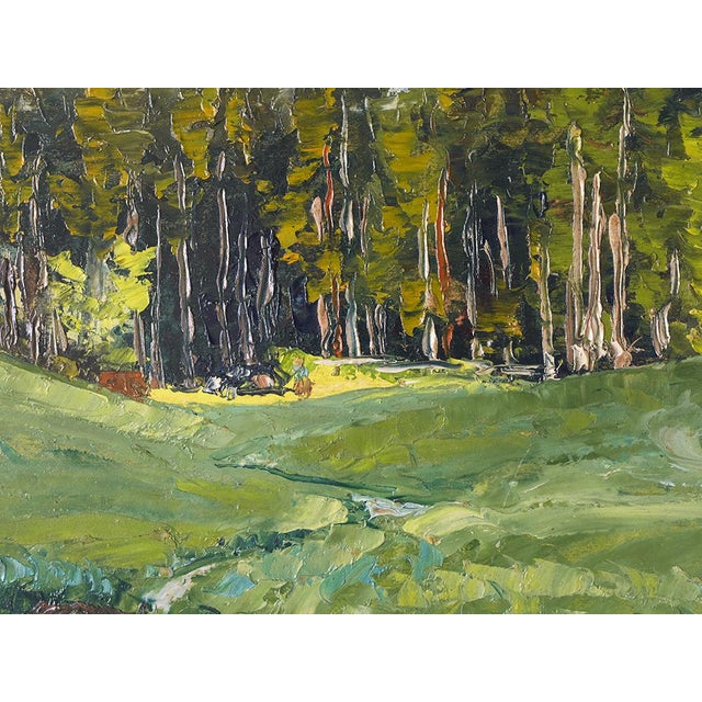 Black Forest Vintage French Impressionist Forest Oil Listed Artist Berjonneau For Sale - Image 3 of 5