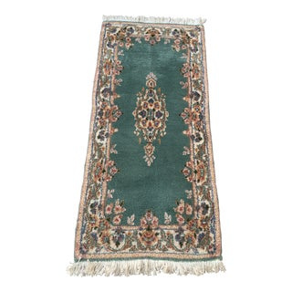 """Vintage Late 20th Century Chinese Lotus Aubusson Green Handcrafted Wool Rug 4' 2"""" X 2' With 2"""" Fringe For Sale"""