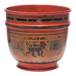 Antique Burmese Lacquer Vase For Sale