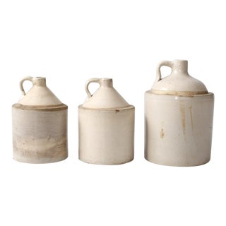 Antique Stoneware Crock Jugs - Set of 3