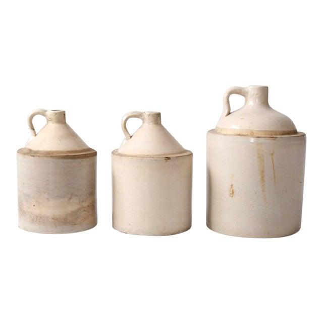 Antique Stoneware Crock Jugs - Set of 3 For Sale
