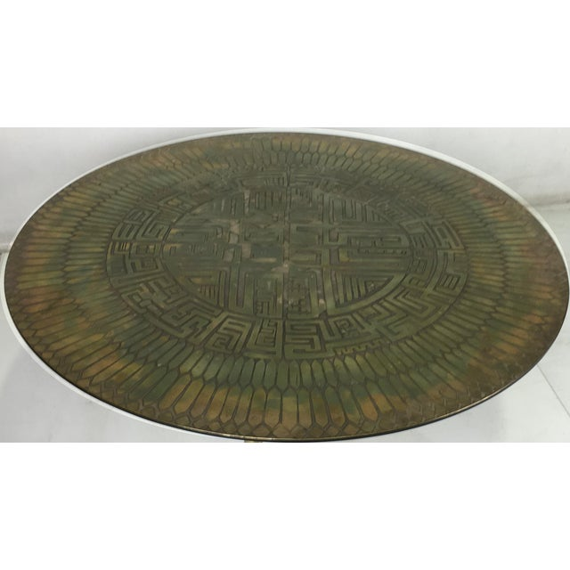 1950s Italian Etched Bronze Cocktail Table For Sale - Image 5 of 5