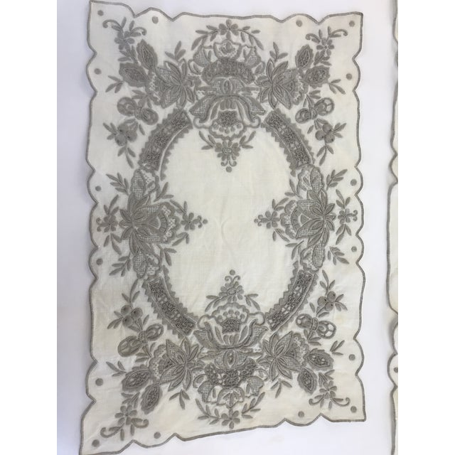 Vintage Hand Embroidered Placemats and Table Runner - Set of 9 For Sale In Los Angeles - Image 6 of 8