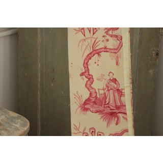 Vintage 1930s French Chinoiserie Design Pink Printed Fabric Fragment Preview