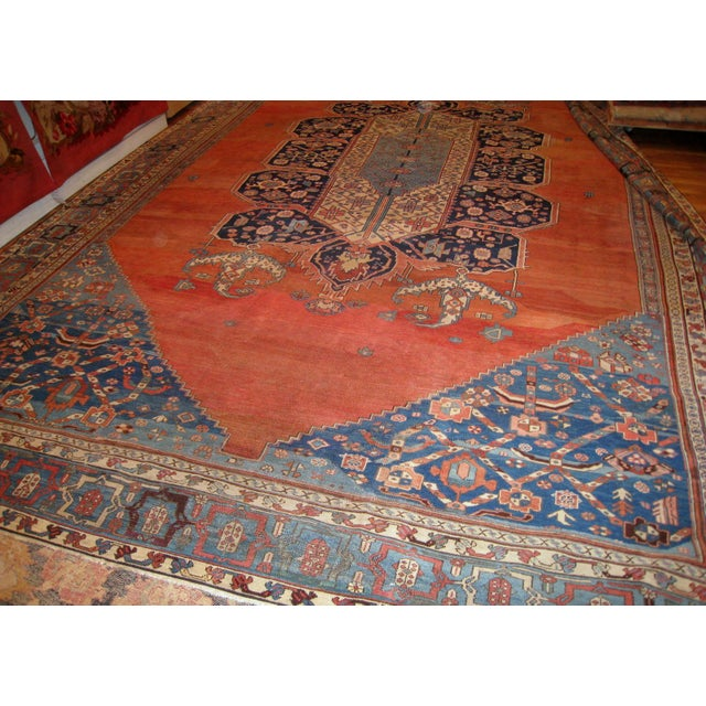 Blue 1880s, Handmade Antique Persian Bakshaish Rug 11' X 15.7' For Sale - Image 8 of 10