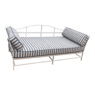 Cast Iron Sunbrella Upholstered Outdoor Daybed For Sale