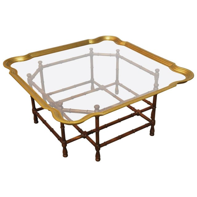 Baker Bamboo and Brass Tray Top Coffee Table - Image 1 of 10