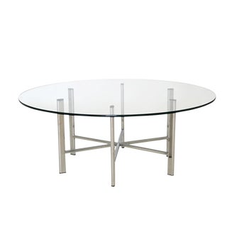 Mid Century Modern Chrome and Glass Hexagon Coffee Table For Sale