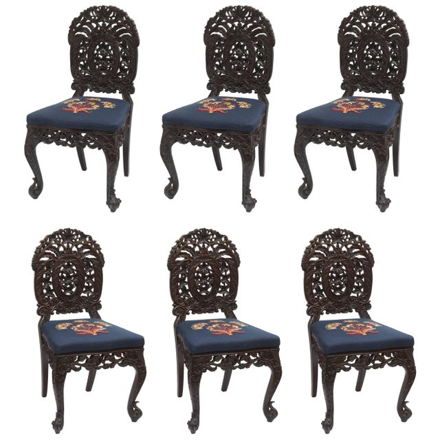 Superb Set of Four 19th Century Anglo-Indian Side Chairs For Sale - Image 11 of 11