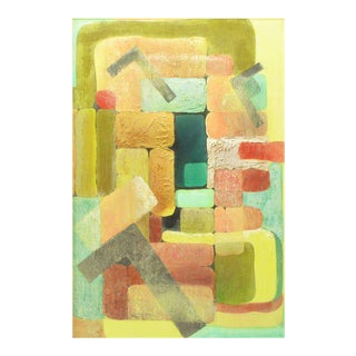 Abstract Relief Cubist Inspired Mixed Media on Canvas