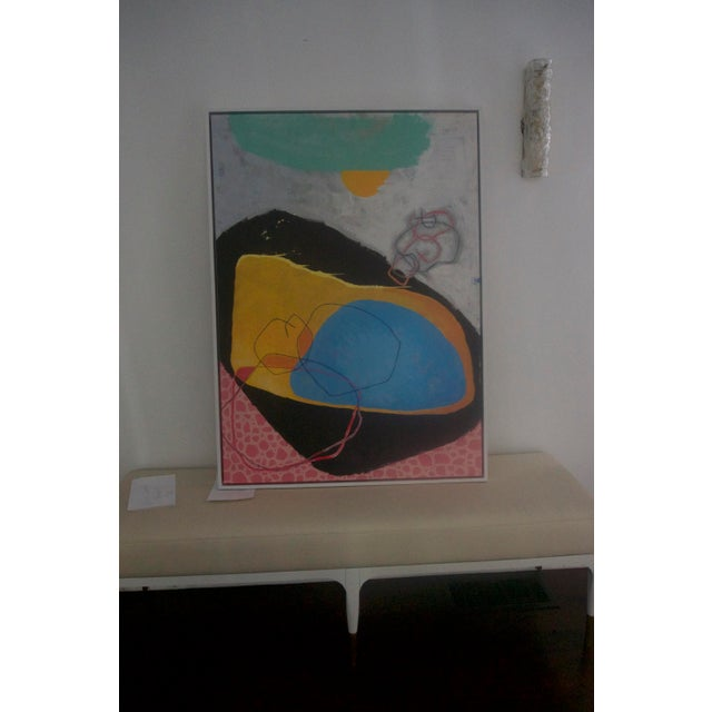 Abstract Pink, Blue & Black Painting - Image 2 of 5