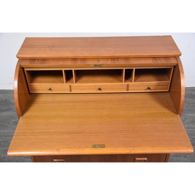Modern Teak Drum Roll Secretary Desk For Sale - Image 4 of 13