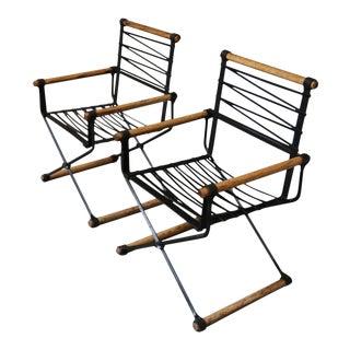 Mid-Century Modern Cleo Baldon Iron Armchairs - a Pair