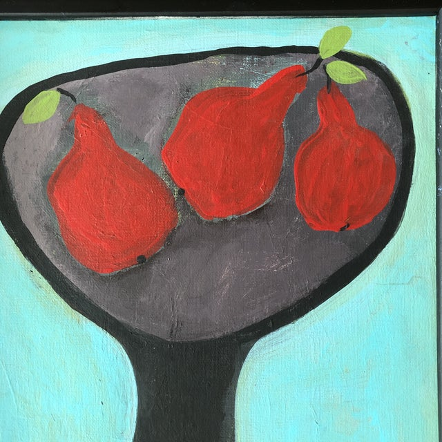 Contemporary Contemporary Folk Artist Rose Walton Red Pear Still Life Painting For Sale - Image 3 of 5