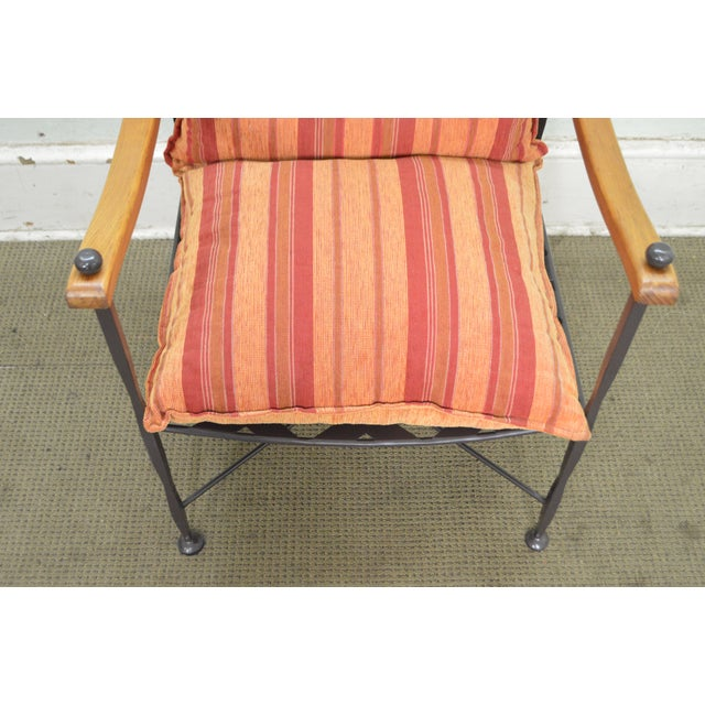 Hand Forged Steel Frame & Wood Frame Reclining Arm Chairs For Sale - Image 9 of 10