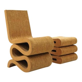 Frank Gehry Cardboard Wiggle Chair & Ottoman/Stool For Sale