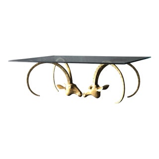 Ibex Brass & Glass Coffee Table For Sale