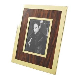 Italian 1970s Aluminium Wood Picture Frame For Sale