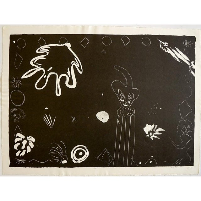 Russell Vogt (20th century), Abstract Black and White litho, Editioned BAT (Bon a Tier) This will be shipped rolled in a tube