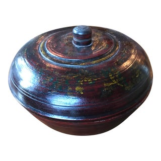 Antique Afghani Wooden Bowl With Lid For Sale