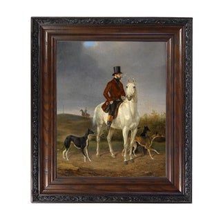"""Hunting With Grey Hounds"" Reproduction Oil Painting Print on Canvas Framed in a Brown/Black Solid Oak Frame by Gustav Quentell, For Sale"