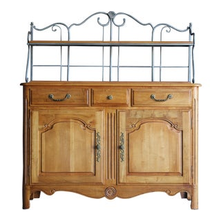 French Country Ethan Allen Legacy Sideboard Baker's Rack For Sale