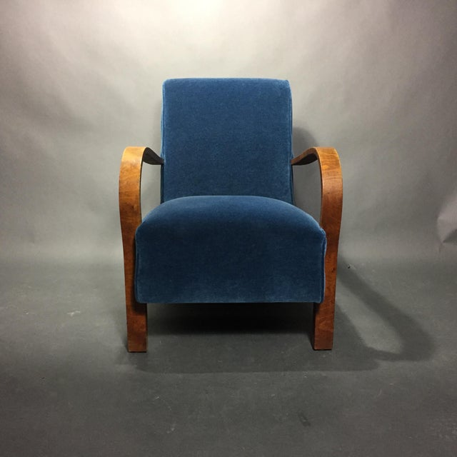 Late 1930s Danish Oak Armchair, New Mohair Upholstery For Sale In New York - Image 6 of 10