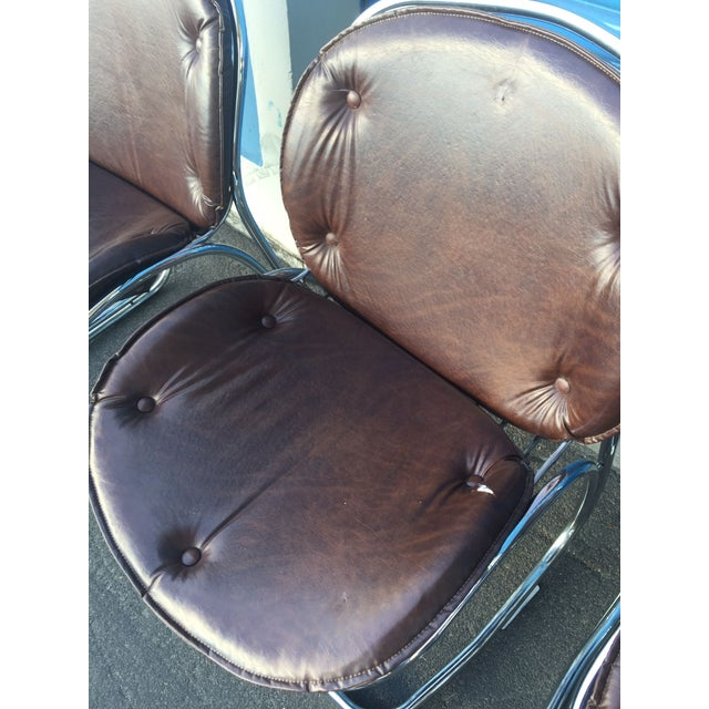 Mid-Century Brown and Chrome Office Chairs - 4 - Image 5 of 5