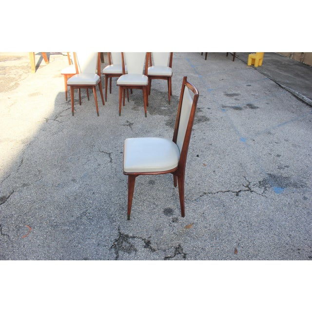 Set of 6 French Art Deco or Art Modern Solid Mahogany Dining Chairs Circa 1950s For Sale - Image 9 of 13