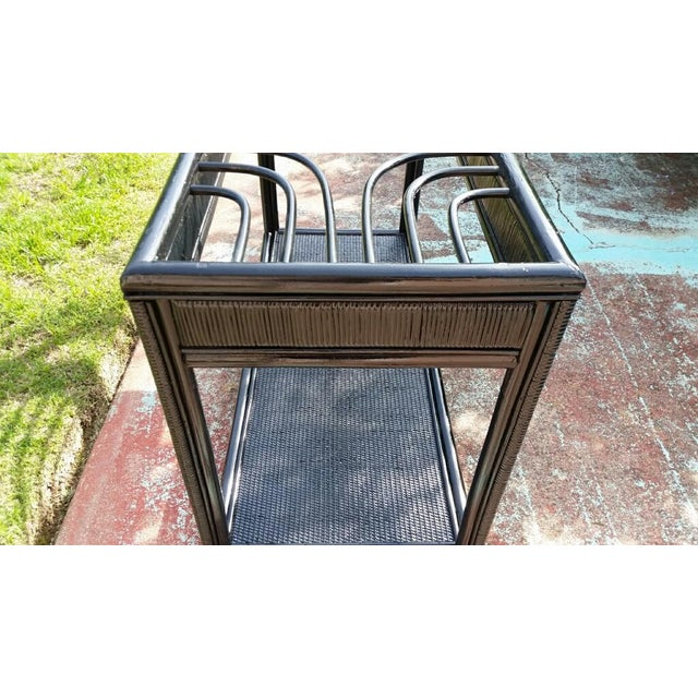 Vintage Glass Top Rattan Console Table - Image 8 of 10
