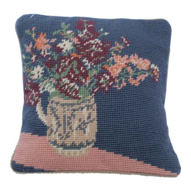 20th Century Cottage Blue and Pink Wool Needle Point Pillow For Sale In San Diego - Image 6 of 6
