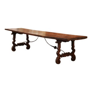 Mid-19th Century Spanish Carved Elm and Wrought Iron Dining Room Table For Sale