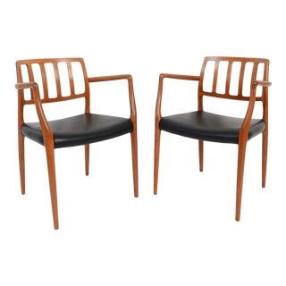 j.l. Moller Teak Model 66 Black Leather Arm Chair For Sale