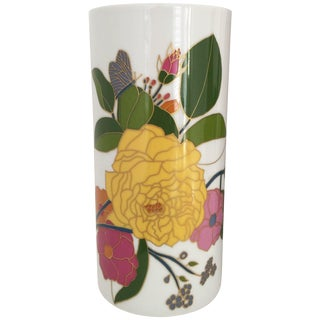1960s Floral Hand-Painted Cylindrical Vase by Rosenthal For Sale