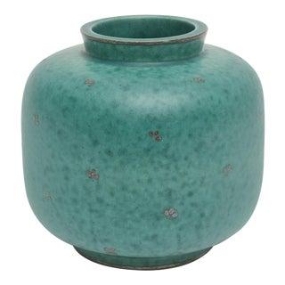 Swedish, Gustavsberg Argenta Signed Sterling Silver Overlay Ceramic Vase