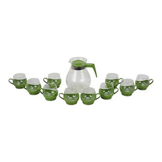 Mid-Century Modern Glass Coffee Set, Set of 11 For Sale