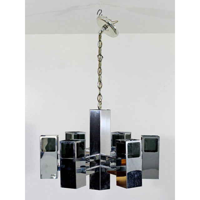 For your consideration is a phenomenal, chrome light fixture, with smoked Lucite and seven bulbs, by Robert Sonneman,...