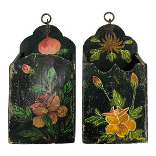 Antique Hand Painted Hanging Boxes - a Pair For Sale