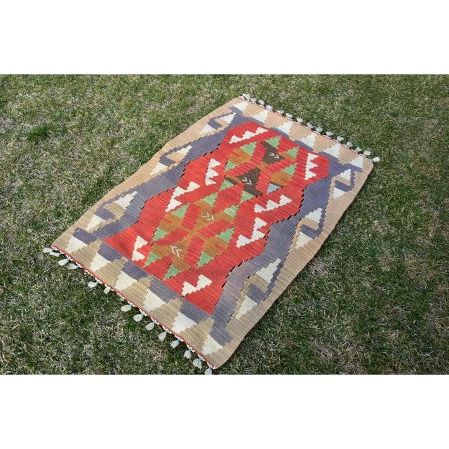 Authentic Turkish Traditional Handwoven Anatolian Nomadic Rustic Style Oushak Kilim Rug 3x4 ft. Size: 2.8 x 3.8 ft (82 x...