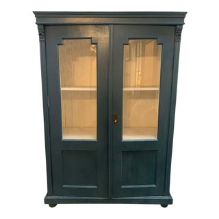 Mid 20th Century Vintage Display Cabinet With Glass Doors For Sale