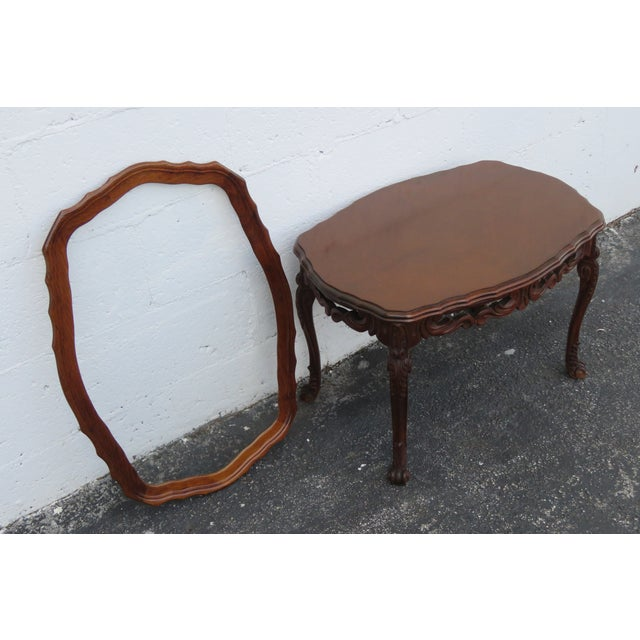 French French Early 1900s Hand Carved Coffee Table With Serving Glass Tray 2357 For Sale - Image 3 of 11