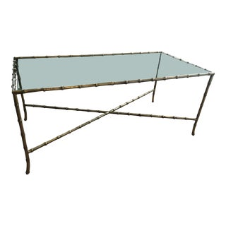 Maison Bagues French Brass Faux Bamboo Coffee Table For Sale