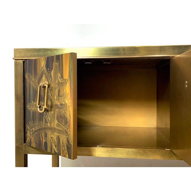 Bernhard Rohne Acid Etched Brass Credenza for Mastercraft 1970's For Sale - Image 9 of 13