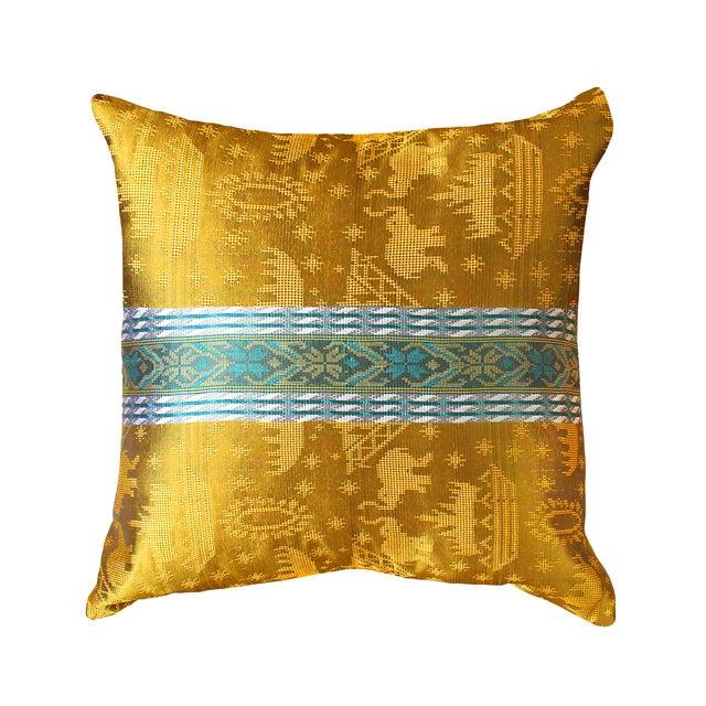 "Javanese ""Golden Ganesh"" Pillow Cover - Image 1 of 3"